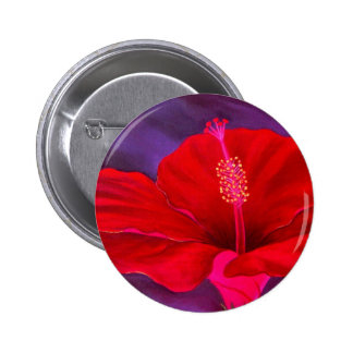 Red Hibiscus Tropical Flower Painting - Multi Pinback Buttons