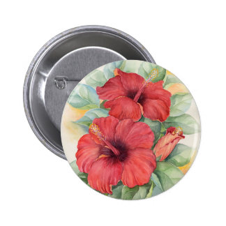 Red Hibiscus Tropical Flower Painting - Multi Button