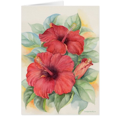Red Hibiscus Tropical Flower Painting - Multi Greeting Card