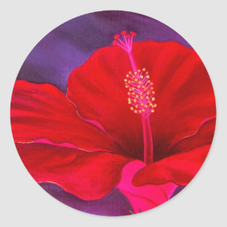 Red Hibiscus Tropical Flower Painting - Multi Classic Round Sticker