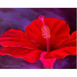 Red Hibiscus Tropical Flower Painting - Multi Cutout