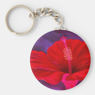 Red Hibiscus Tropical Flower Painting - Multi Keychain