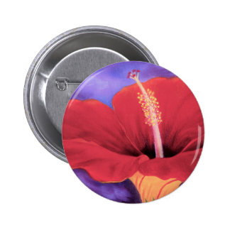 Red Hibiscus Tropical Flower Painting - Multi Pins