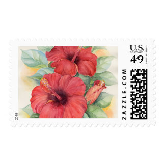 Red Hibiscus Tropical Flower Painting - Multi Postage