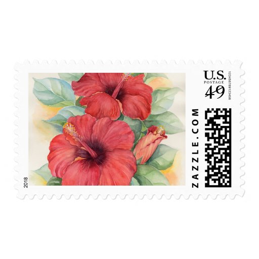 Red Hibiscus Tropical Flower Painting - Multi Postage Stamp