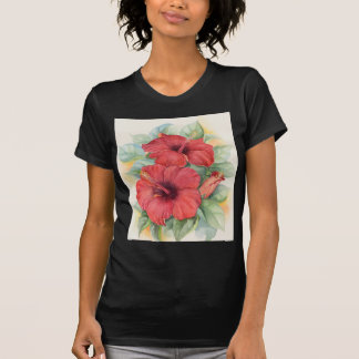 Red Hibiscus Tropical Flower Painting - Multi T-Shirt
