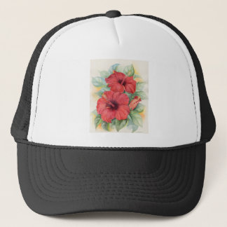 Red Hibiscus Tropical Flower Painting - Multi Trucker Hat