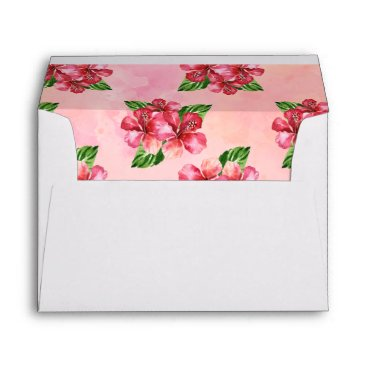 Beach Themed Red Hibiscus Tropical Watercolor Envelope