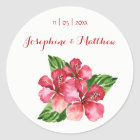 Red Hibiscus Tropical Watercolor Wedding Stickers