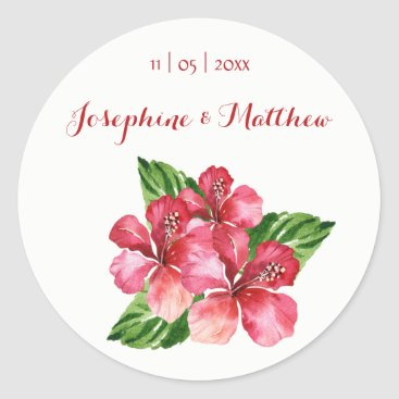 Beach Themed Red Hibiscus Tropical Watercolor Wedding Stickers