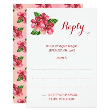 Beach Themed Red Hibiscus Tropical Wedding Reply Cards