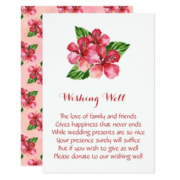 Beach Themed Red Hibiscus Tropical Wedding Wishing Well Cards