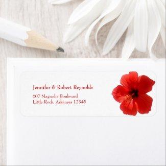 Red Hibiscus Wedding Address Label