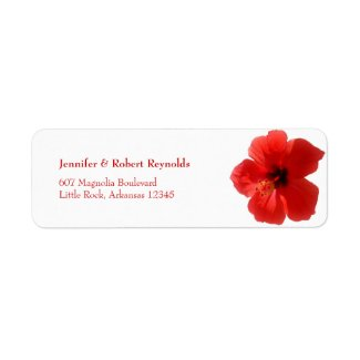 Red Hibiscus Wedding Address Label