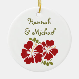 Red Hibiscus Wedding Favor Ornament
