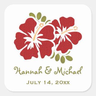 Red Hibiscus Wedding Favor Sticker Seal