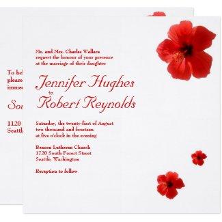 Red Hibiscus Wedding Invitation