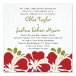 """Red Hibiscus Wedding Invitations 5.25"""" Square Invitation Card"""