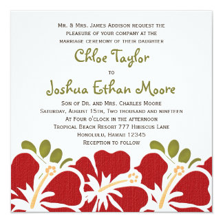 Red Hibiscus Wedding Invitations