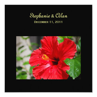 Red Hibiscus Wedding Invitations with RSVP