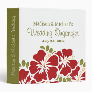 RED Hibiscus Wedding Planner Organizer Binder