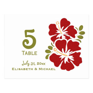 Red Hibiscus Wedding Reception Table Number Cards
