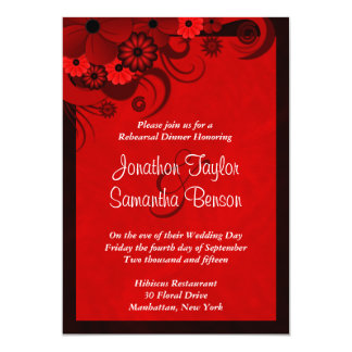 Red Hibiscus Wedding Rehearsal Dinner Invitations Announcements