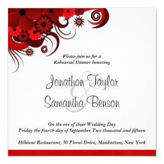 "Red Hibiscus Wedding Rehearsal Dinner Invitations 5.25"" Square Invitation Card"