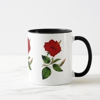 Red Hibiscus with Black Ringer Mug