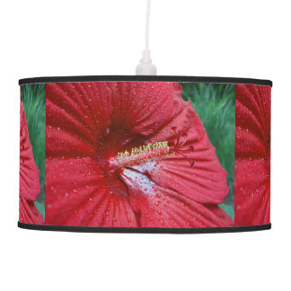 Red Hibiscus With Raindrops Ceiling Lamp