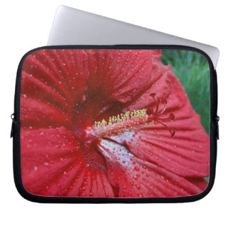 Red Hibiscus With Raindrops Laptop Sleeve