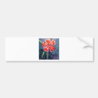 Red Hibisus Flower Art Bumper Sticker