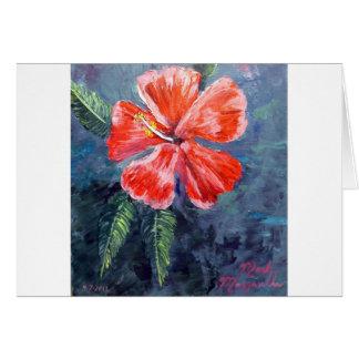 Red Hibisus Flower Art Card