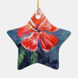 Red Hibisus Flower Art Christmas Tree Ornaments