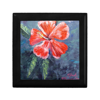 Red Hibisus Flower Art Jewelry Boxes