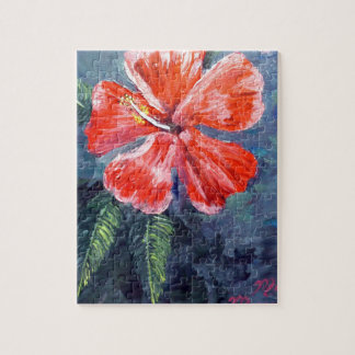 Red Hibisus Flower Art Jigsaw Puzzle