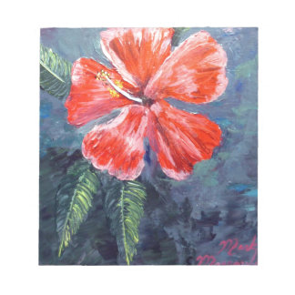 Red Hibisus Flower Art Memo Notepads