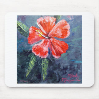 Red Hibisus Flower Art Mouse Pad