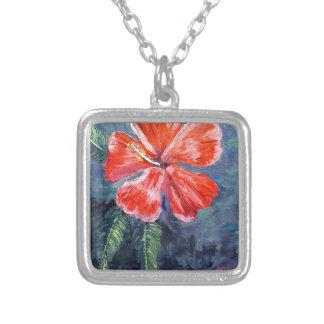 Red Hibisus Flower Art Pendants