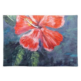 Red Hibisus Flower Art Place Mat
