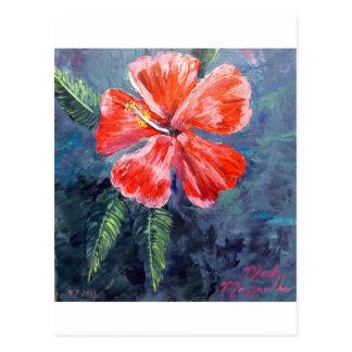 Red Hibisus Flower Art Postcard