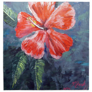 Red Hibisus Flower Art Printed Napkins