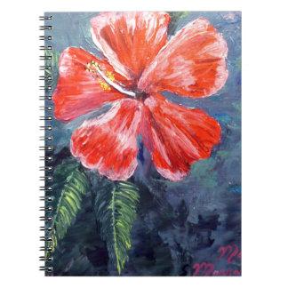 Red Hibisus Flower Art Spiral Notebook