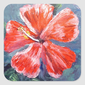 Red Hibisus Flower Art Square Stickers