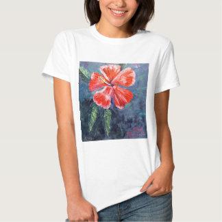 Red Hibisus Flower Art T-shirt