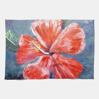 Red Hibisus Flower Art Towel
