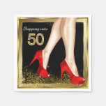 Red High Heel 50th Birthday Party Paper Napkin