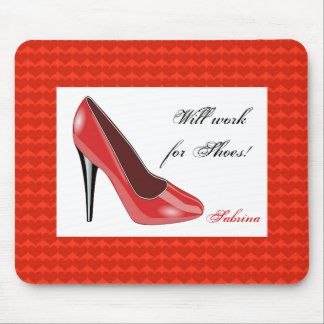 Red High Heel and Hearts Mouse Pad