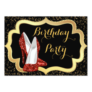 Red High Heel Black and Gold Birthday Party Card