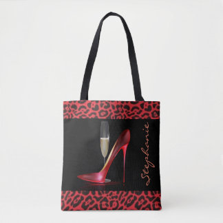 Red High Heel Champagne Leopard Design Tote Bag